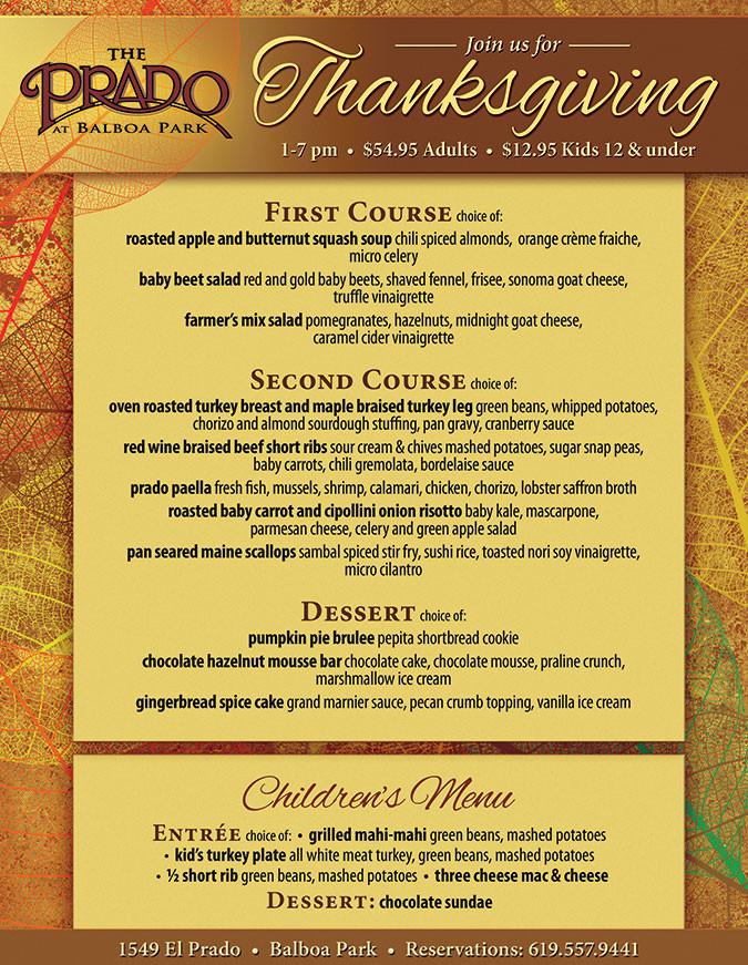 Thanksgiving Dinner Restaurant  The Prado s Thanksgiving Dinner Cohn Restaurant Group