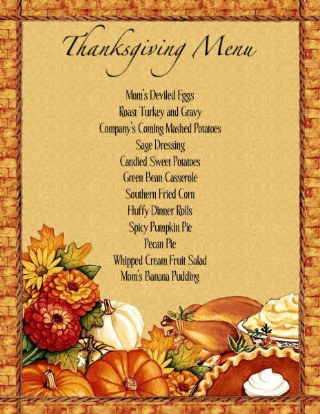 Thanksgiving Dinner Restaurant  Menu Templates Free Download THANKSGIVING