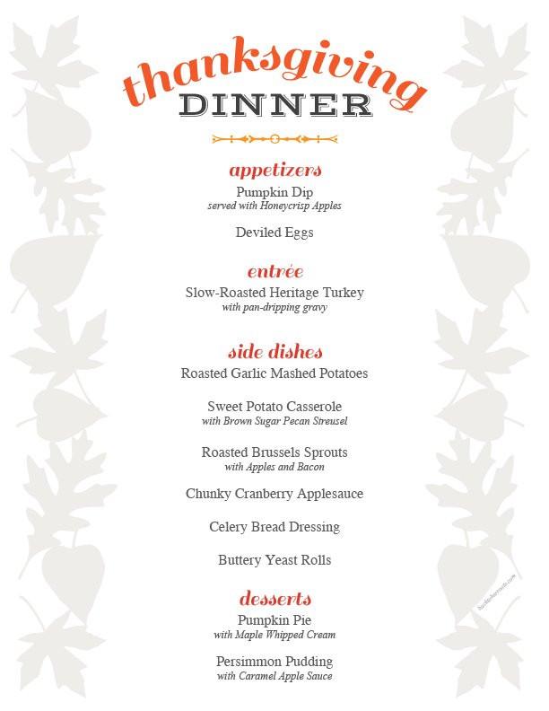Thanksgiving Dinner Restaurant  thanksgiving menu printable holiday recipe roundup