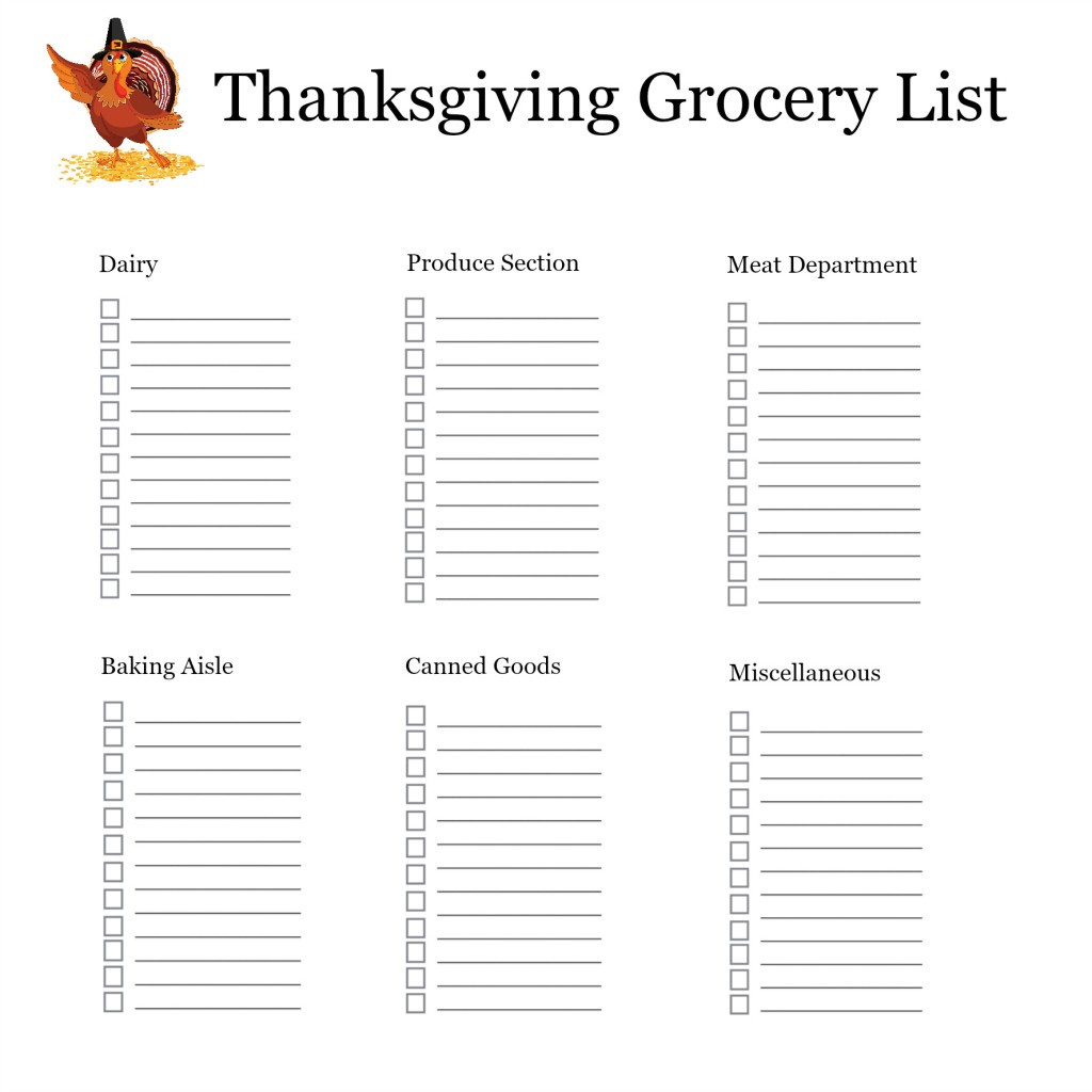 Thanksgiving Dinner Shopping List  Thanksgiving Shopping List Organizer – Free Printable