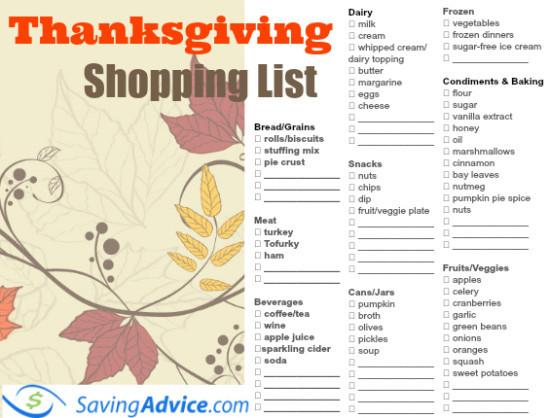 Thanksgiving Dinner Shopping List  Thanksgiving Dinner Printable Shopping List SavingAdvice