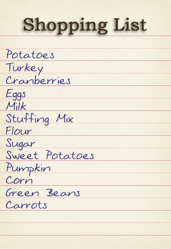 Thanksgiving Dinner Shopping List  The Geography of Thanksgiving Dinner