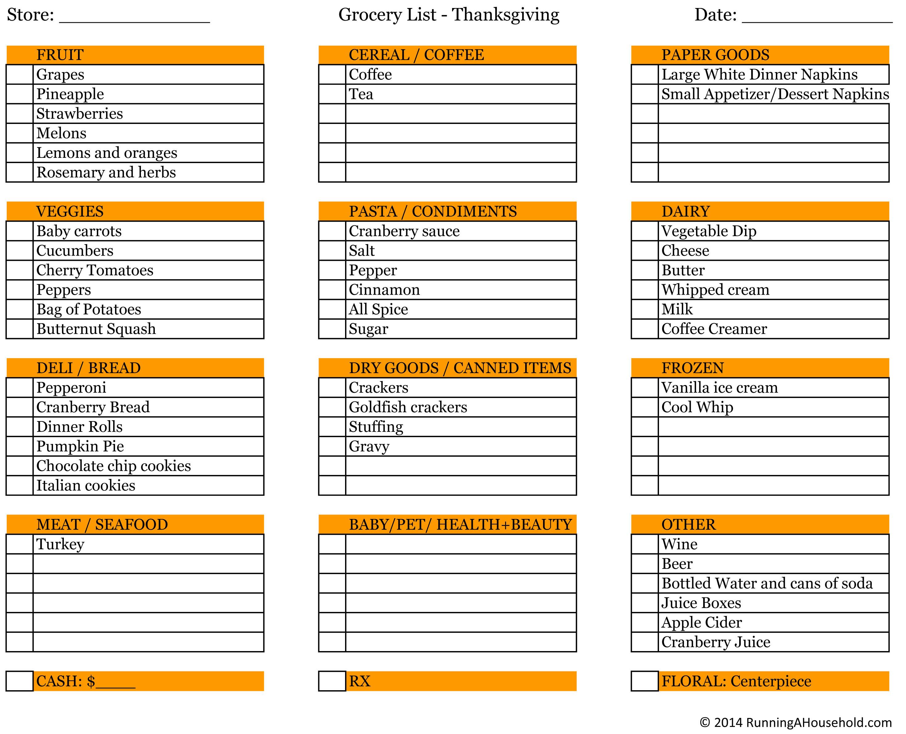 Thanksgiving Dinner Shopping List  Planning Thanksgiving Dinner Running A Household