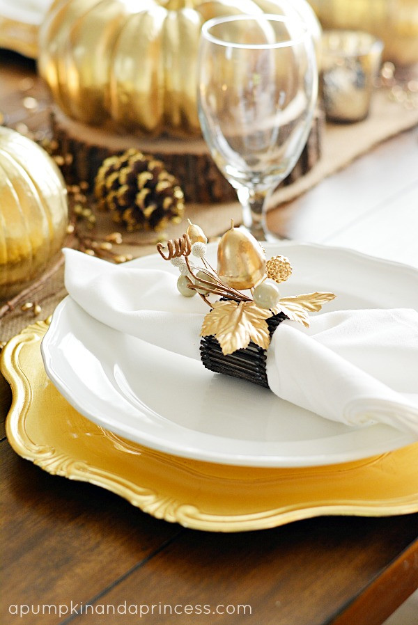 Thanksgiving Dinner Table Settings  Thanksgiving Inspired Gold Table Decor Dinner Party A