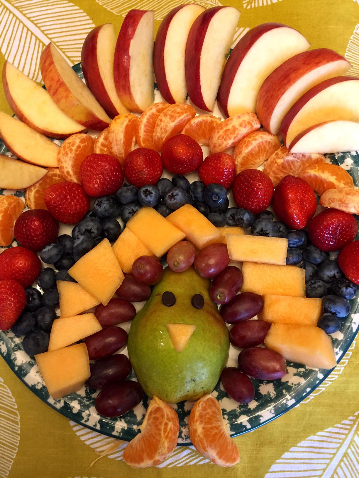 Thanksgiving Fruit Turkey  Thanksgiving Turkey Shaped Fruit Platter Appetizer Recipe