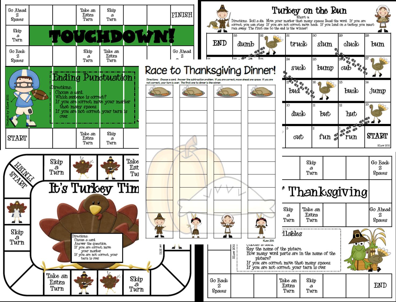 Thanksgiving Games Turkey Run  First Grade a la Carte New Thanksgiving Games
