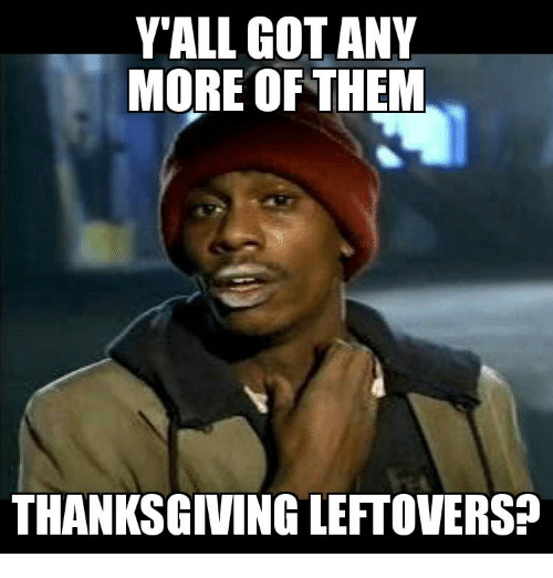 Thanksgiving Leftovers Meme  Y ALL GOT ANY MORE OF THEM THANKSGIVING LEFTOVERS