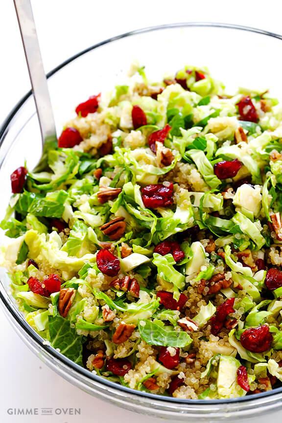 Thanksgiving Quinoa Salad  Brussels Sprouts Cranberry and Quinoa Salad