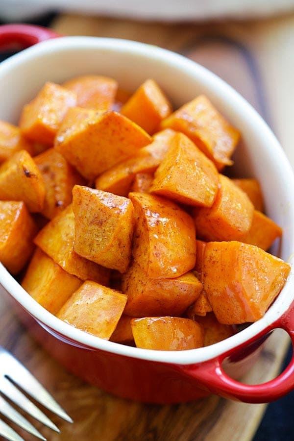 Thanksgiving Roasted Sweet Potatoes  Honey Cinnamon Roasted Sweet Potatoes