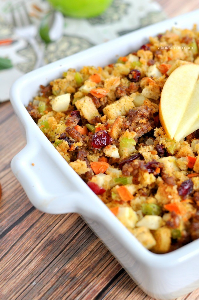 Thanksgiving Side Dishes For A Crowd  Apple and Sausage Stuffing Recipe About A Mom