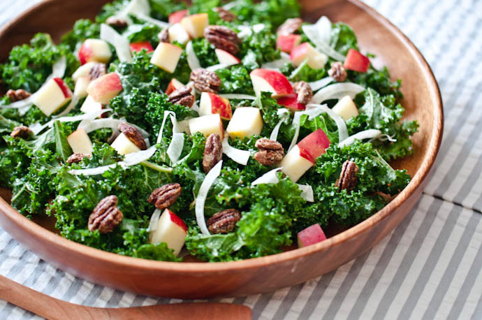 Thanksgiving Side Salads  Kale Salad with Apples Fennel and Can d Pecans