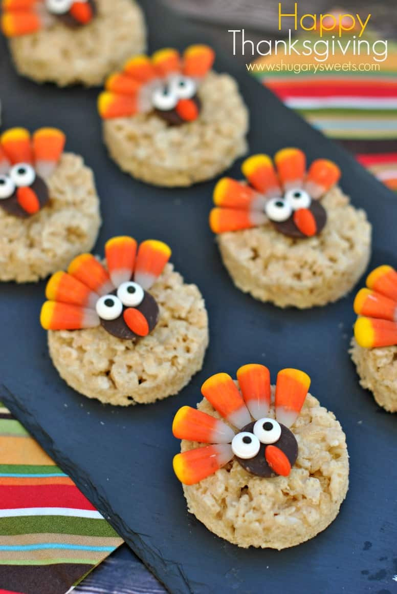 Thanksgiving Snacks Recipes  Turkey Rice Krispie Treats Shugary Sweets