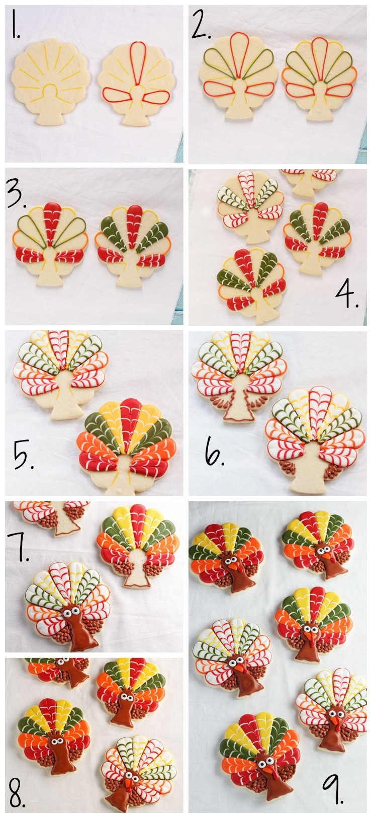Thanksgiving Sugar Cookies  Decorated Turkey Cookies