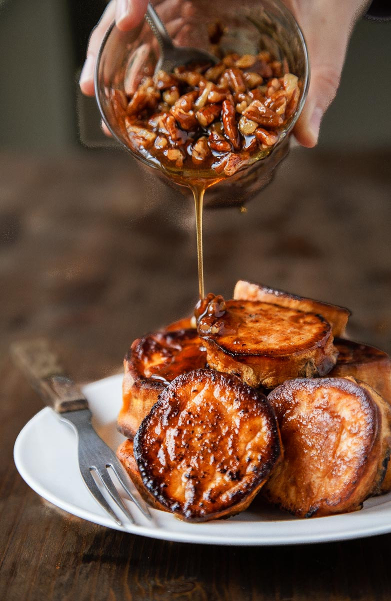 Thanksgiving Sweet Potatoes  Melting Sweet Potatoes Roasted with Maple Pecan Sauce