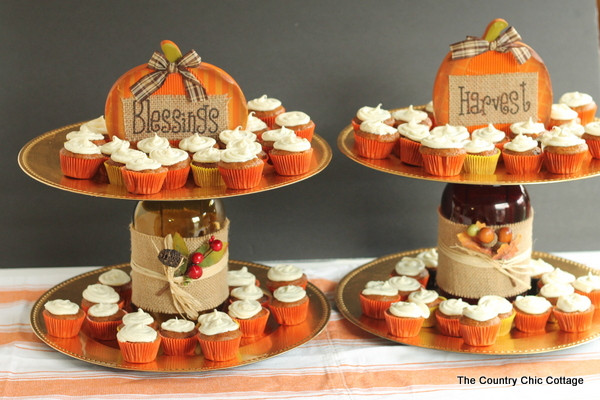 Thanksgiving Themed Desserts  Tiered Fall Dessert Stand make this in minutes The