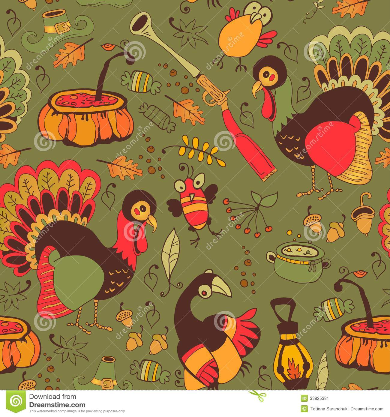 Thanksgiving Turkey Background  Seamless With Turkey For Thanksgiving Stock Vector