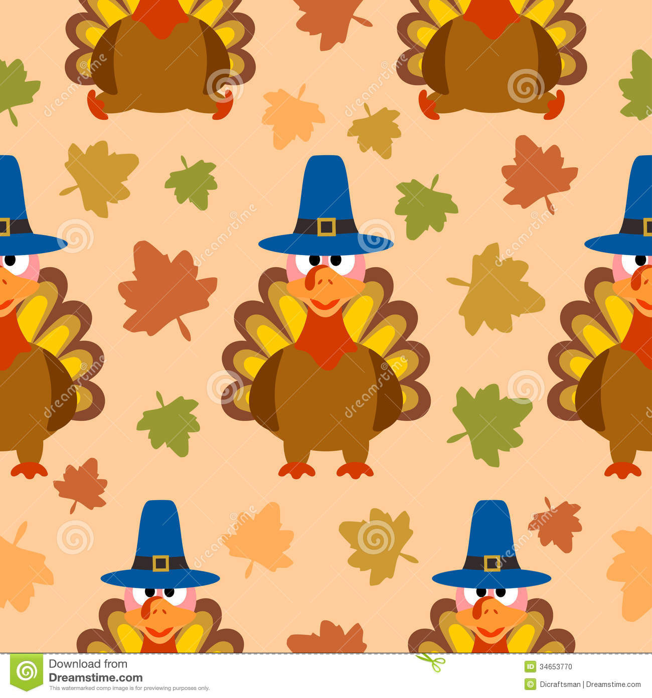 Thanksgiving Turkey Background  Thanksgiving Seamless Background With Turkey Stock