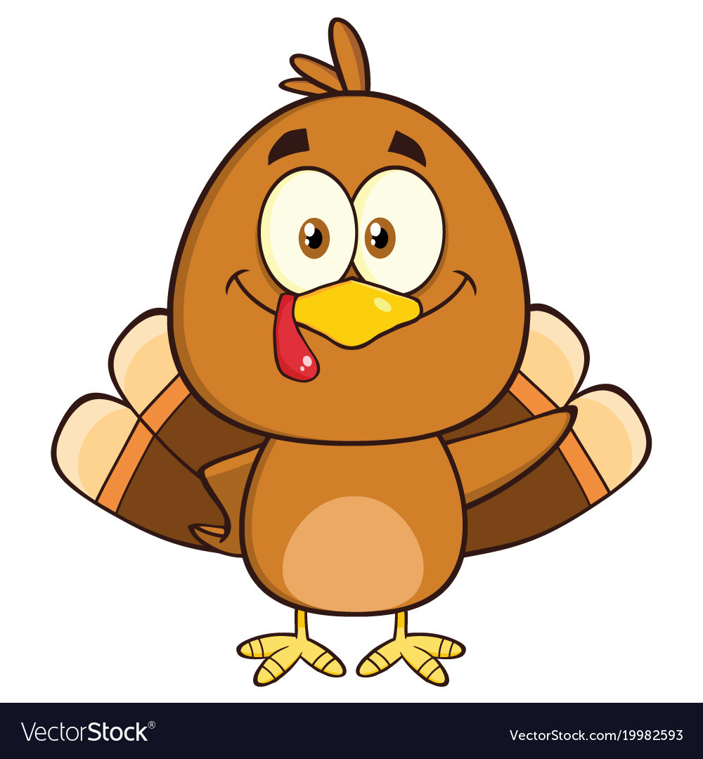 Thanksgiving Turkey Cartoon Images  Cute turkey bird cartoon character waving Vector Image