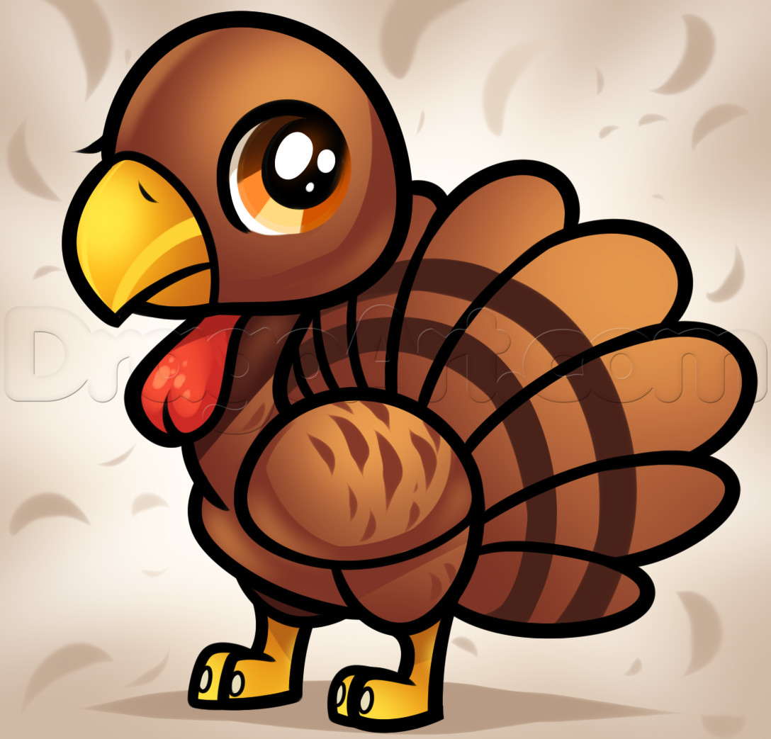 Thanksgiving Turkey Drawing  How to Draw a Chibi Turkey For Kids Step by Step Animals