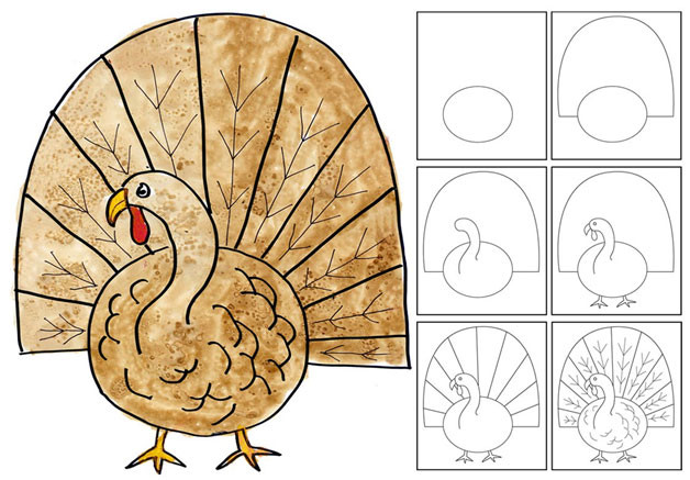 Thanksgiving Turkey Drawing  Rumriver Art Center Art Projects for Homeschoolers