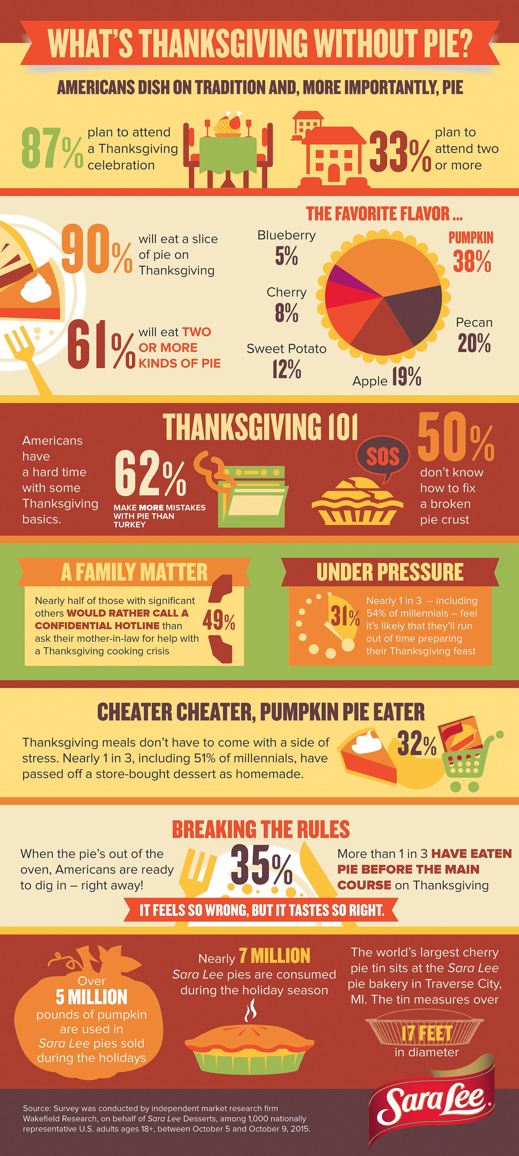 """Thanksgiving Turkey Facts  Sara Lee Desserts Pie Hotline Returns to Ensure """"Pie"""