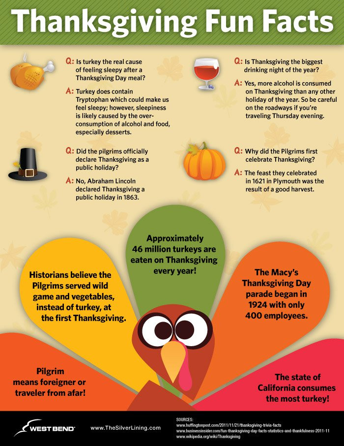 Thanksgiving Turkey Facts  Thanksgiving Trivia Questions & Answers FUN Facts