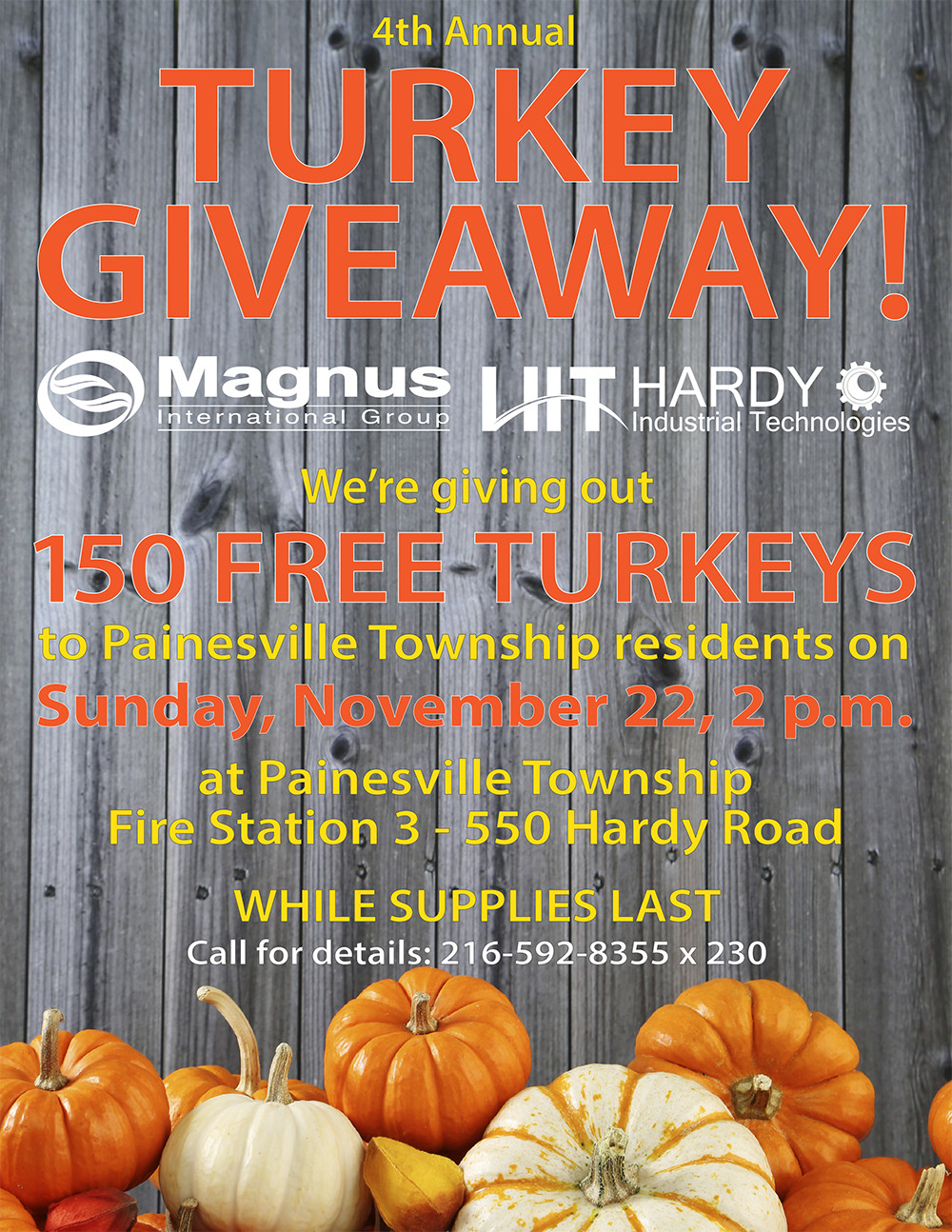 Thanksgiving Turkey Giveaway  Magnus Hardy 4th Annual Turkey Giveaway Nov 22 in