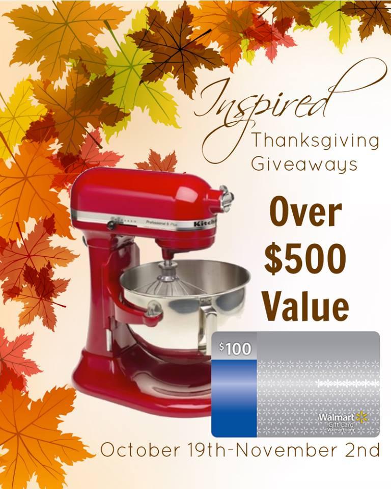 Thanksgiving Turkey Giveaway  Giveaway KitchenAid Stand Mixer and $100 at Walmart