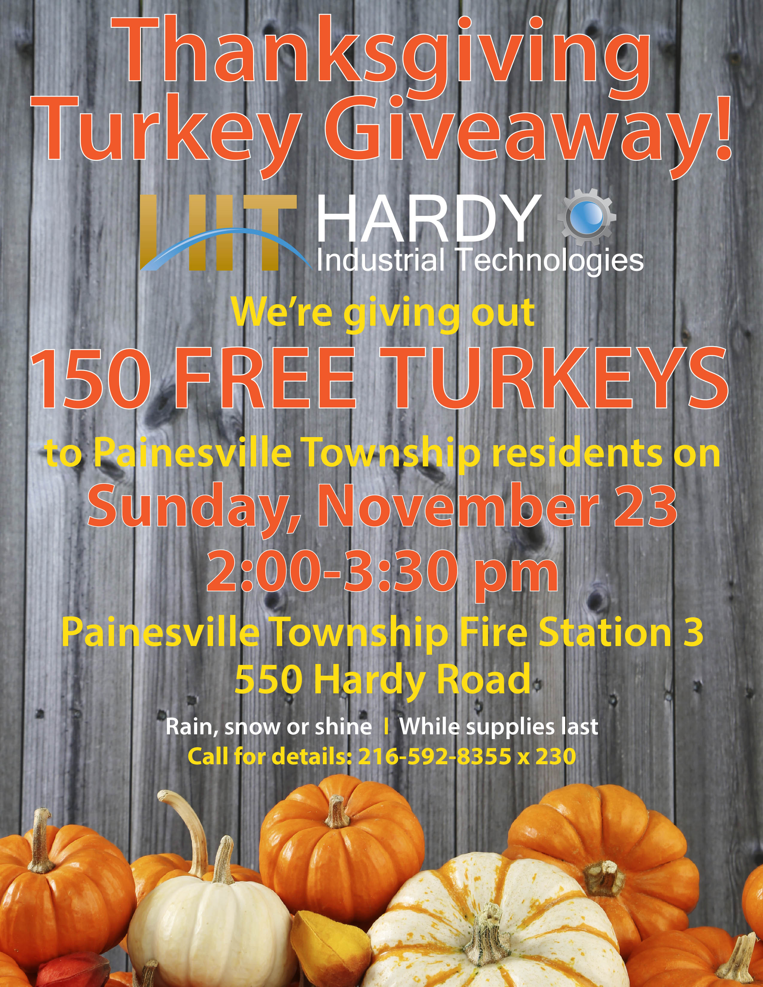 Thanksgiving Turkey Giveaway  Annual Thanksgiving Turkey Giveaway in Painesville