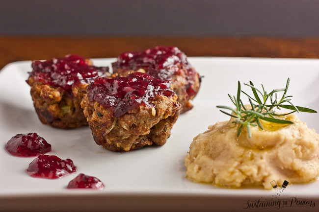 Thanksgiving Turkey Meatloaf  Turkey and Stuffing Meatloaf Muffins with Cranberry Glaze