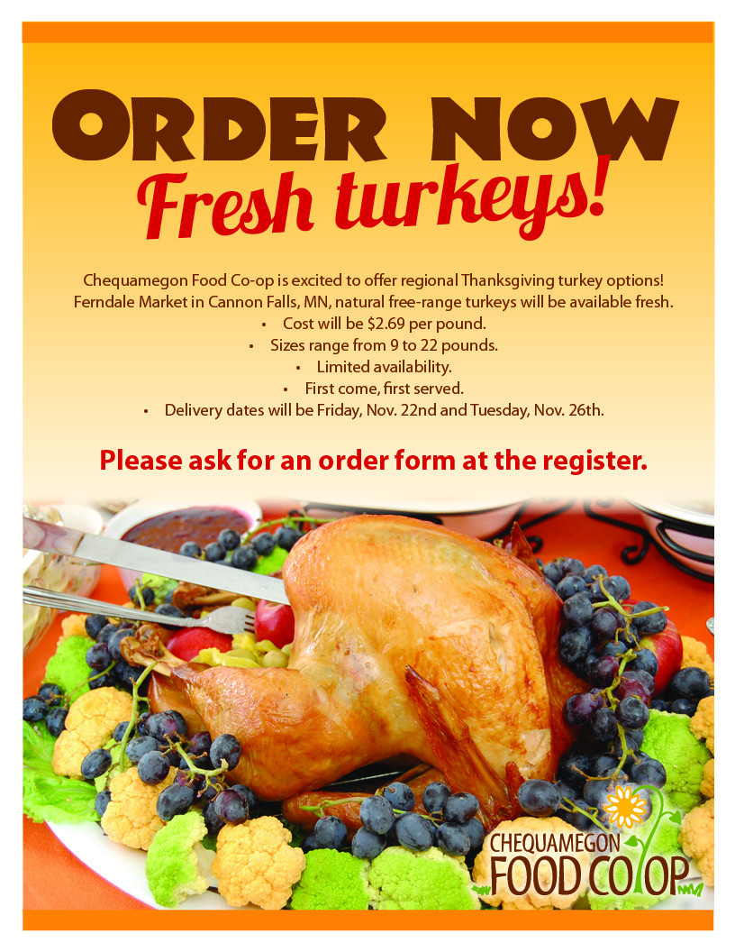 Thanksgiving Turkey Order  Order Your Thanksgiving Turkey line Chequamegon Food Co op