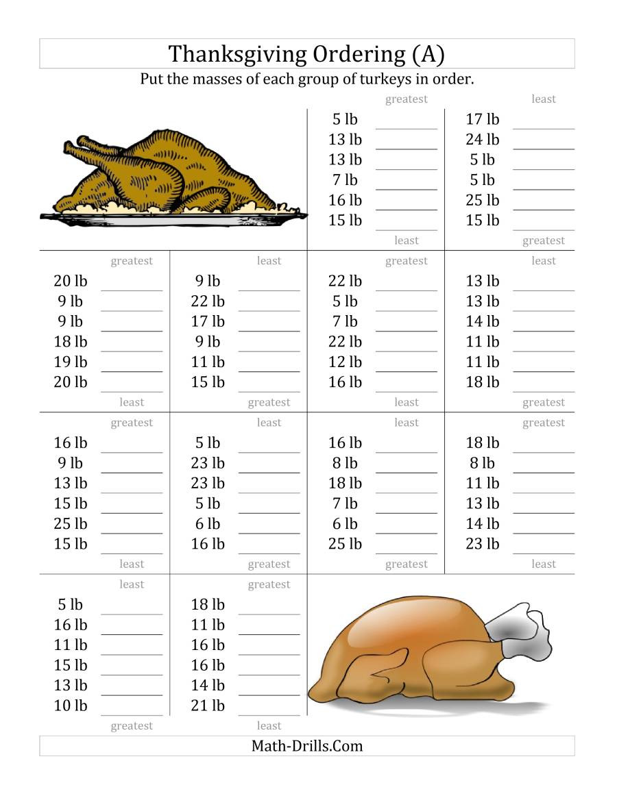Thanksgiving Turkey Order  Ordering Turkey Masses in Pounds A