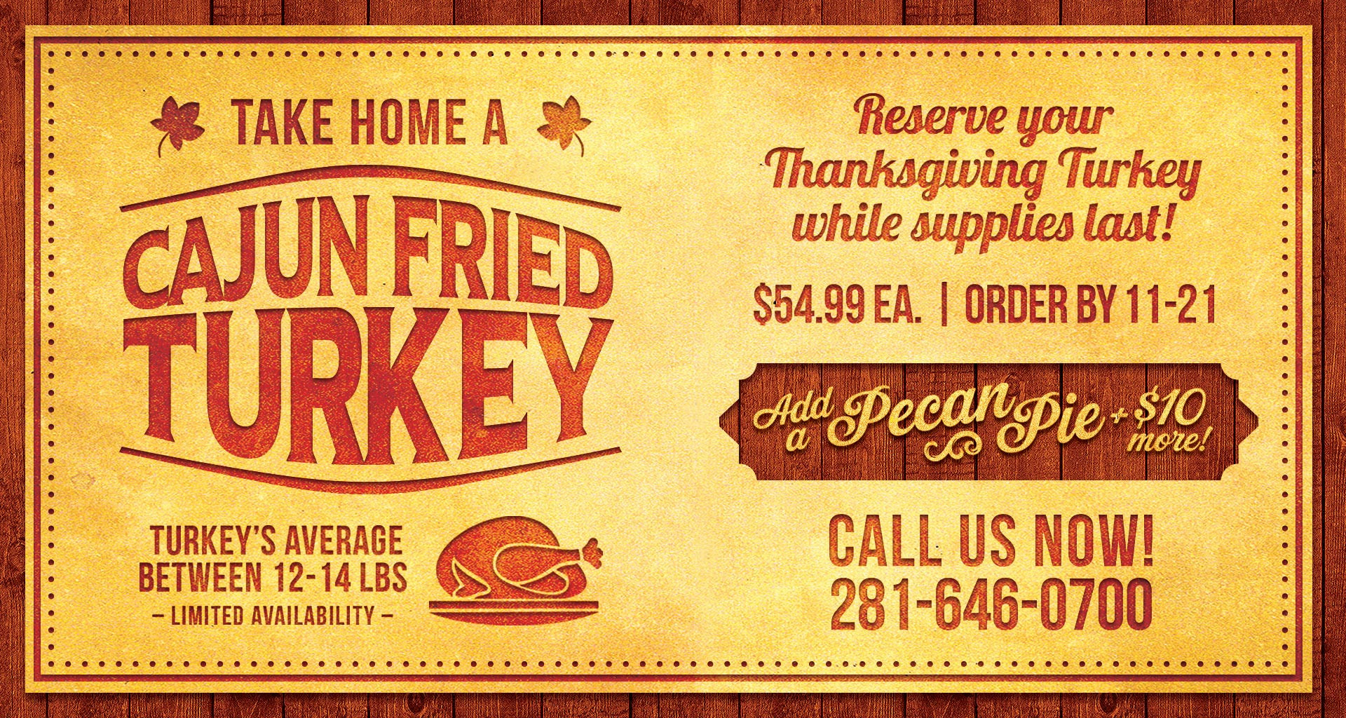Thanksgiving Turkey Order  Take Home a Cajun Fried Turkey Orleans Seafood Kitchen