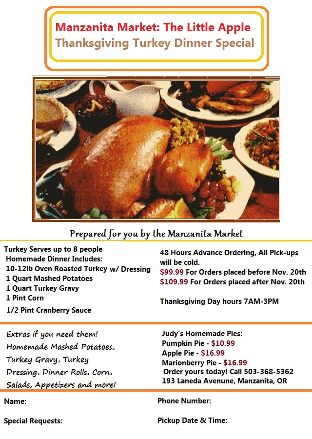 Thanksgiving Turkey Order  Thanksgiving Turkey Orders & Our 2014 Dinner Flyer