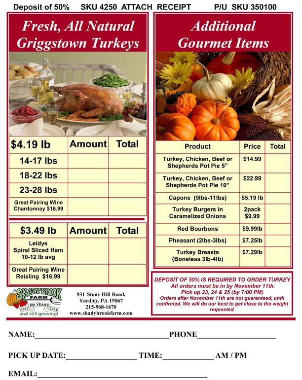 Thanksgiving Turkey Order  Turkey and Pie Order Form – Shady Brook Farm