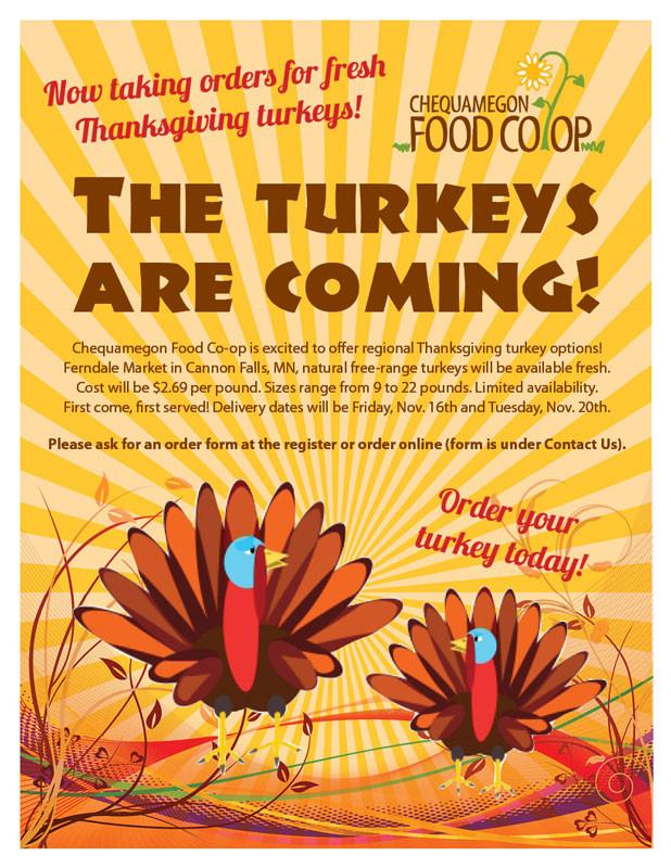 Thanksgiving Turkey Order  Order Turkeys line Chequamegon Food Co op