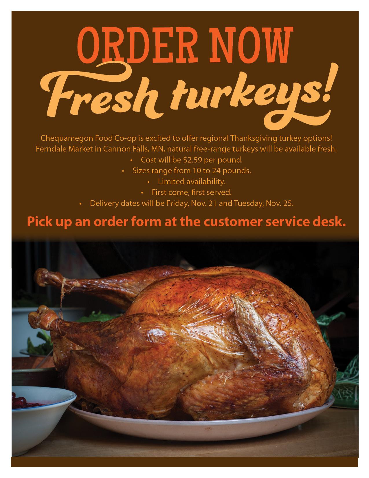 Thanksgiving Turkey Order  Order Your Thanksgiving Turkey line Chequamegon Food