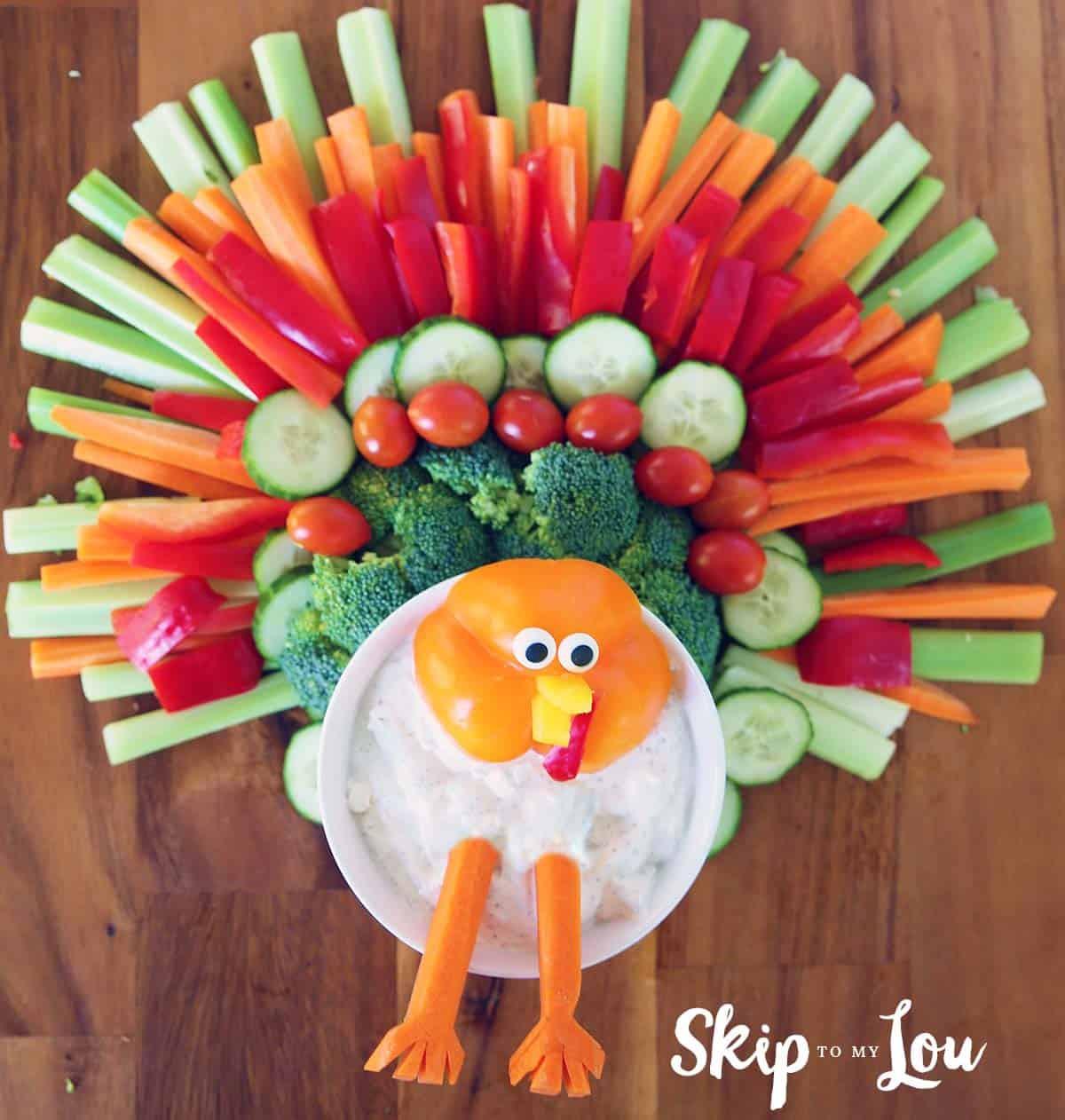 Thanksgiving Turkey Platter  Homemade Ranch Dip Veggie Tray Ideas