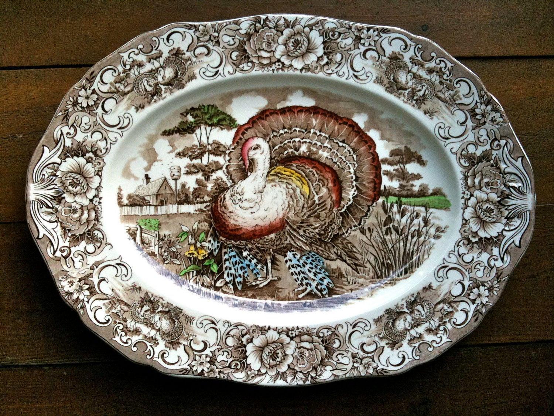 Thanksgiving Turkey Platter  Vintage English Turkey Platter Thanksgiving Transferware