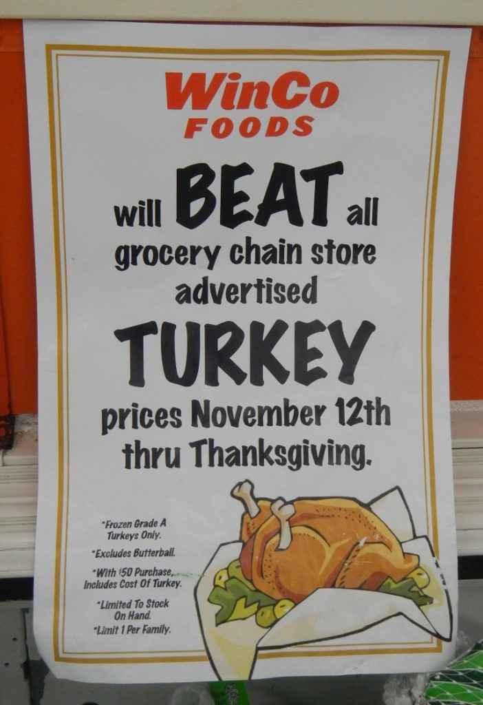 Thanksgiving Turkey Prices  WinCo Will Beat Advertised Thanksgiving Prices including