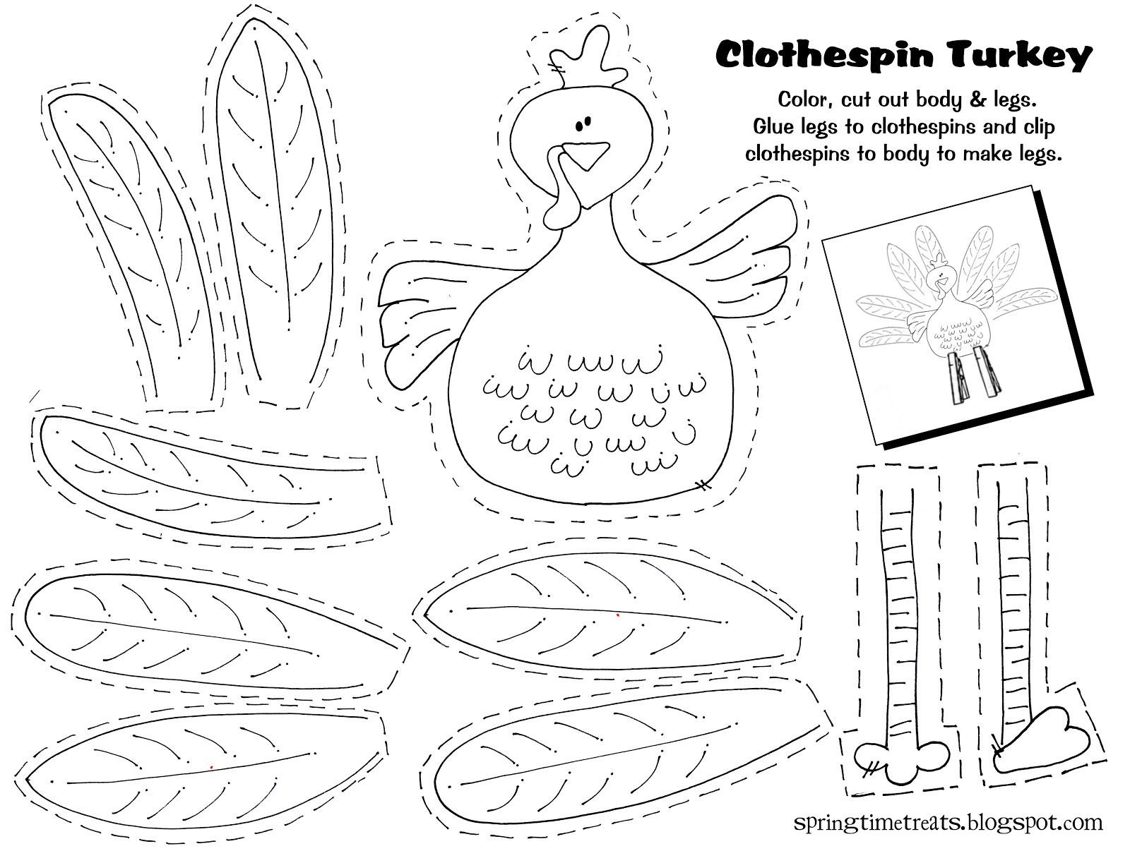 Thanksgiving Turkey Printable  Spring Time Treats Clothespin Turkey