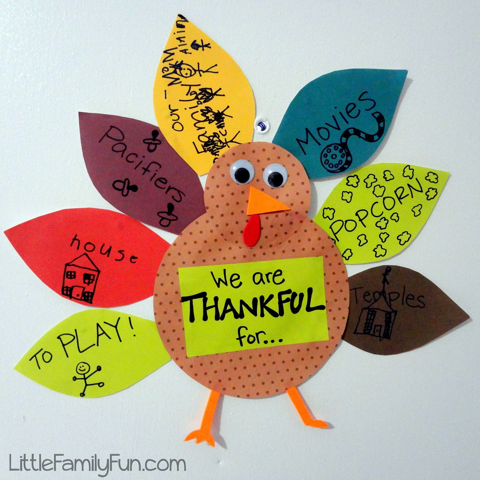 Thanksgiving Turkey Projects  Little Family Fun Gratitude Turkey 2012 Thanksgiving