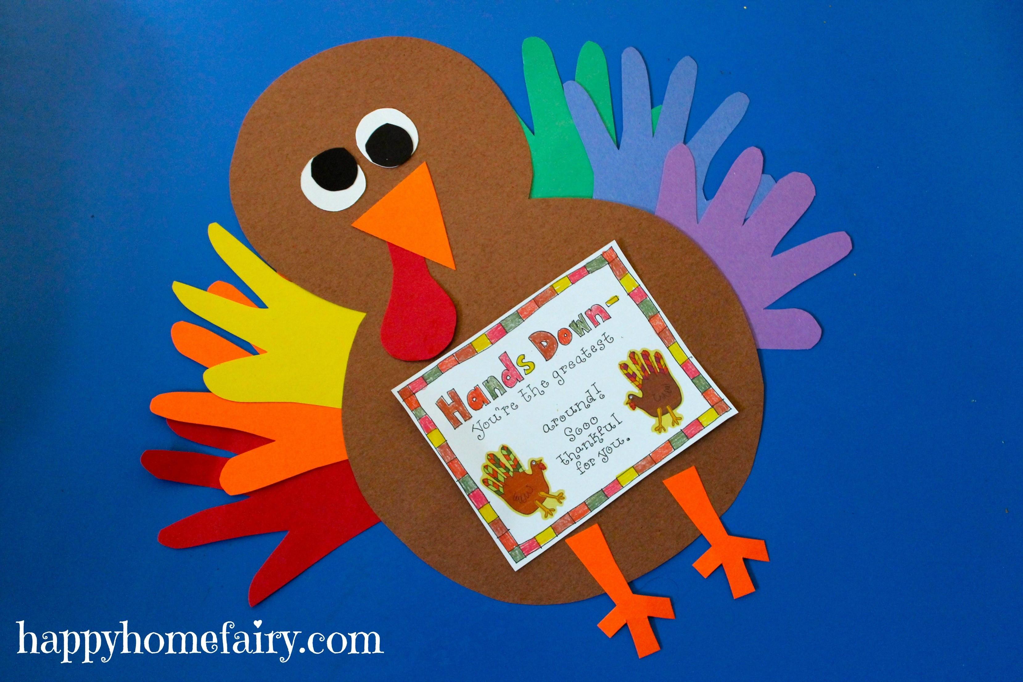 Thanksgiving Turkey Projects  Thankful Handprint Turkey Craft FREE Printable Happy