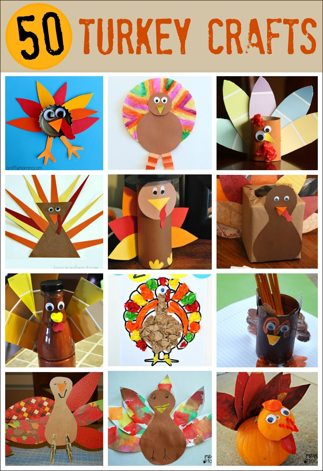 Thanksgiving Turkey Projects  Thanksgiving Crafts for Kids Pipe Cleaner Turkey Mess