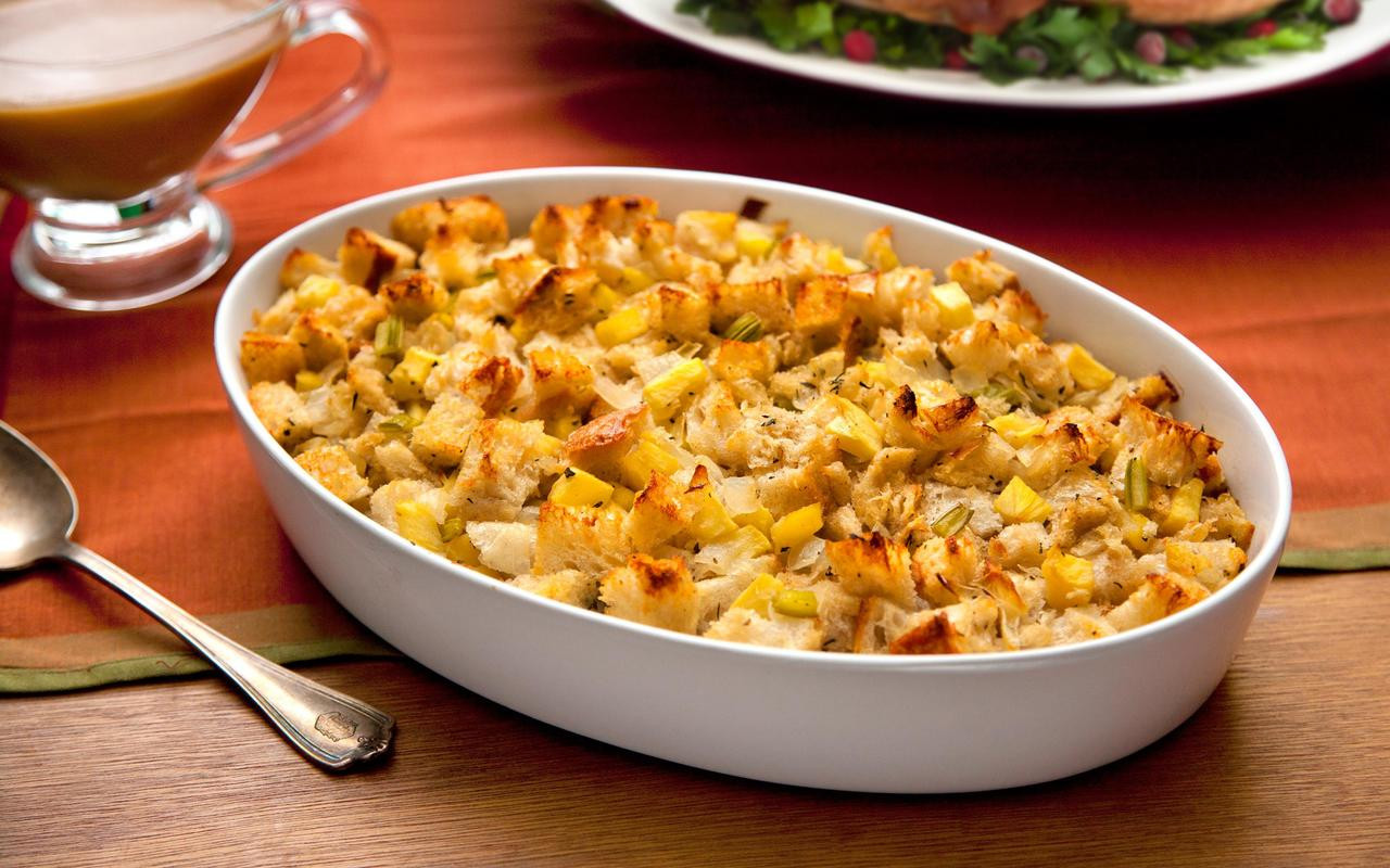 Thanksgiving Turkey Recipe With Stuffing  Thanksgiving Stuffing with Apples and Sage Recipe Chowhound