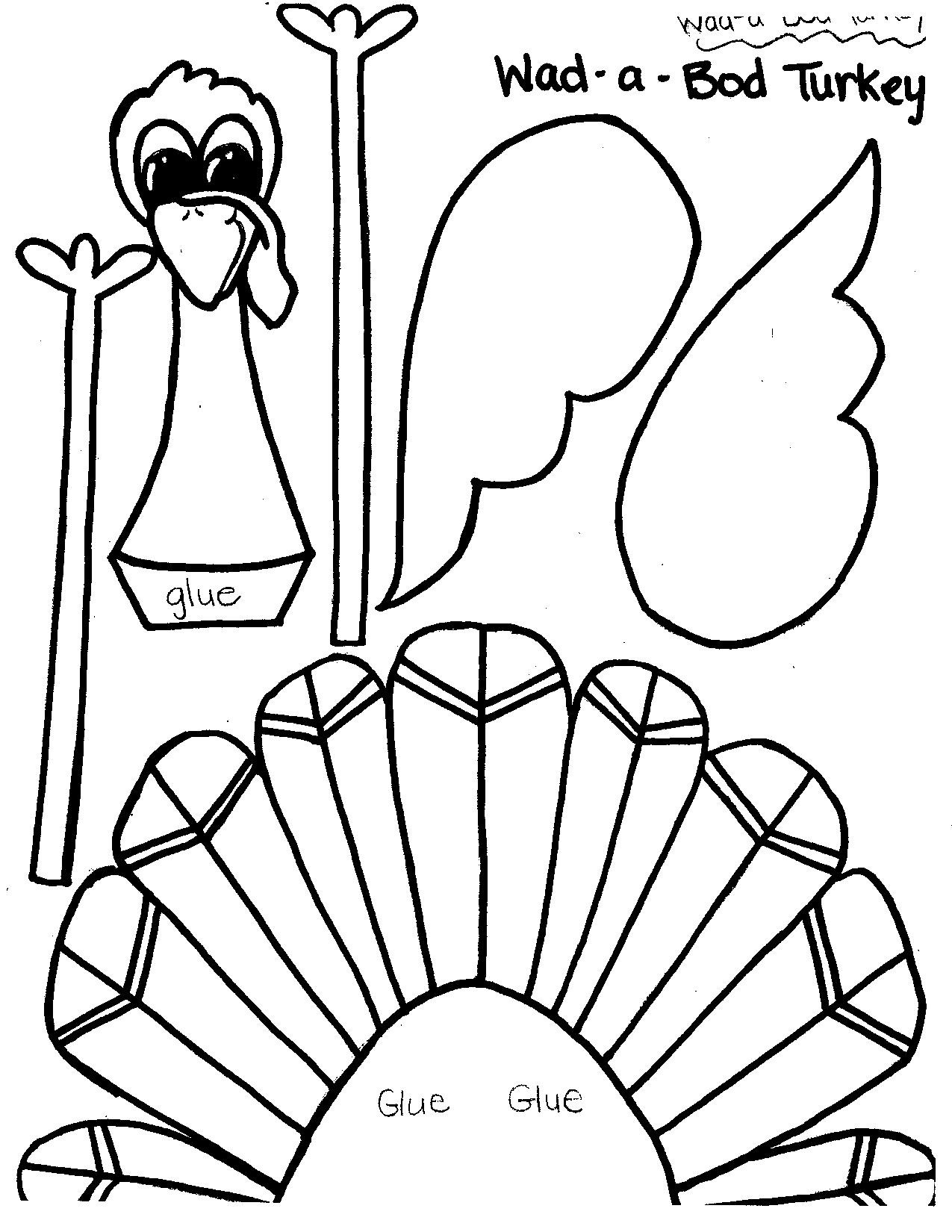 Thanksgiving Turkey Template  Printable Thanksgiving Crafts and Activities for Kids