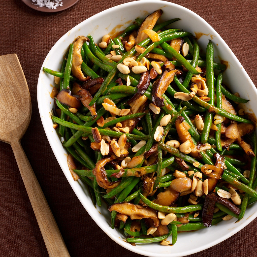 Thanksgiving Vegetarian Dish  Green Bean Casserole with Red Curry and Peanuts Recipe