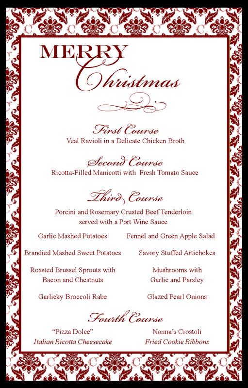 Traditional Christmas Dinner Menu  Stranded in Cleveland Italian Christmas Dinner