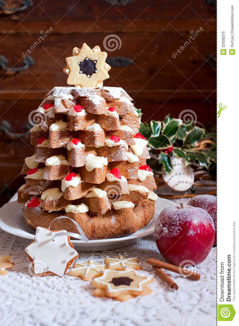 Traditional Christmas Sweet Bread  Christmas Tree Pandoro Royalty Free Stock Image Image