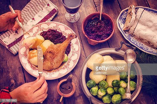 Traditional German Christmas Dinner  Spit Roast Stock s and